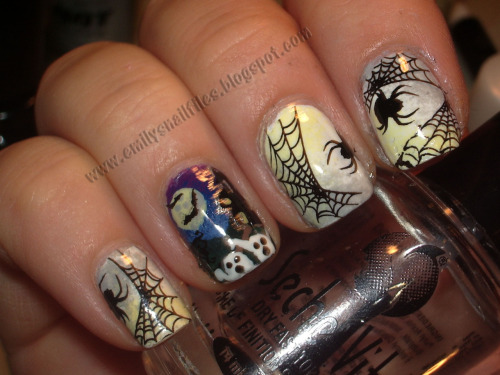 Halloween Nails - freehand and bundlemonster stamping! www.emilysnailfiles.blogspot.com