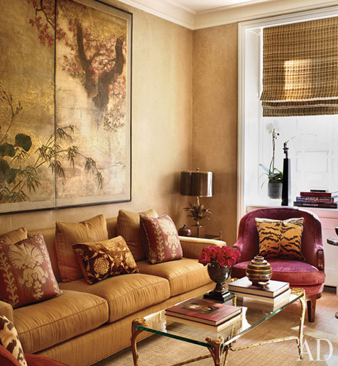 Interior styles designs - Pink and gold living room ...