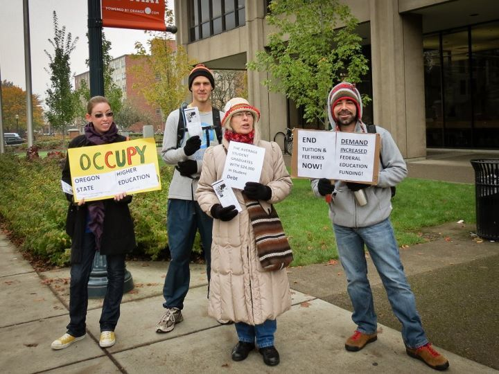 A few Occupy Oregon State-ers at an Occupy Higher Education event at Kerr Administration building.