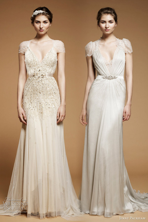 """Willow"" and ""Aspen"" wedding gowns from Jenny Packham The Dress of The Week   Jenny Packham Bridal 2012 - Belle the Magazine // killerpussy:fuckyeahdresses"
