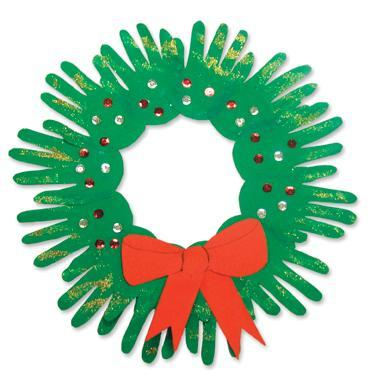 Small Hands Christmas Wreath You will need: green construction paper, pencil, scissors, glue, odds 'n' ends (e.g. ribbons, sequins, glitter, coloured paper) Students  will need about 8 – 10 tracings of their open hand on green  construction paper. Cut out the hand shapes. Arrange the hands in a  circle with the wrists overlapping and the fingers pointing out. Glue  into position to form a wreath shape.  Students can then decorate their  wreath using pieces of the 'odds 'n' ends' materials.  For example, they  could add ribbons, bows, small Christmas shapes (e.g. stars, presents,  bows to trace from templates), glitter or sequins to complete their  wreath. Display around the classroom or send home  as a keepsake for parents or grandparents. Date the back of the wreath  with the child's name, age and year. NOTE:  Younger students may need assistance with varying parts of this activity.