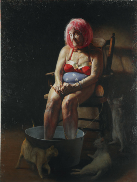 "The latest from our buddy artist Jason Bard Yarmosky…. ""Wondering Woman"" oil on linen 48""x36"""