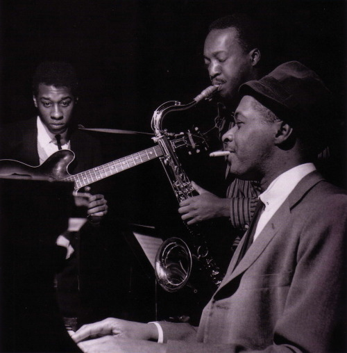 Grant Green, Hank Mobley and Wynton Kelly at Mobley's Workout session, Englewood Cliffs NJ, March 26 1961 (photo by Francis Wolff)