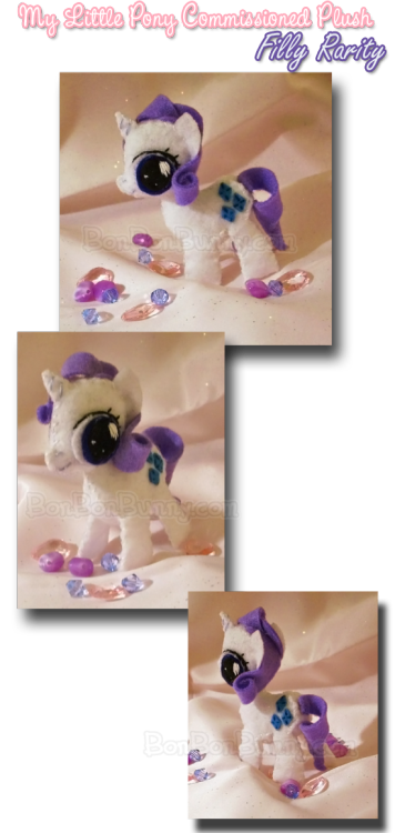 Rarity is one of my favorite of the main ponies. *o* I was a little daunted by tackling her curls using felt. It took some intense plush engineering! BV Filly Rarity has BIG EYES O_O and cuter, tinier curls. n_n Get your own plush here! DeviantArt
