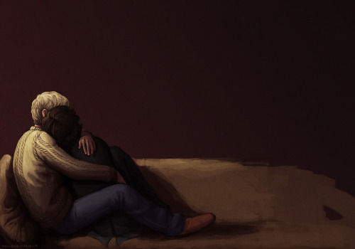"magicbear:  ""I'm here, Sherlock.""""I'm afraid, John."" Fanart of the fic Alone on the Water, which I think everyone has read now askdhgfa. I've been sitting on this pic for a while now. It's incomplete but shading in this style will be the death of me so I'd rather end it now ahaha.   NOOOOOOOOOOOOOOOOOOO!!!! slkfjslkdjfla"