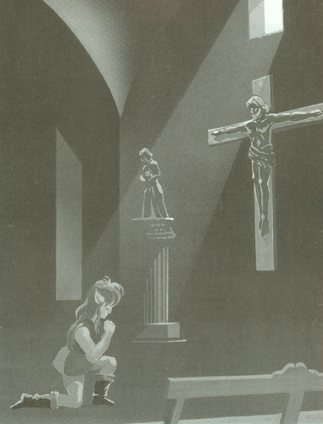 The Cross has appeared in several early Zelda titles, primarily in The Legend of Zelda and in Adventure of Link. Although the Triforce had debuted in The Legend of Zelda, it did not initially appear as a religous icon in the Zelda series until A Link to the Past and Ocarina of Time. It would seem to suggest thatChristianity was initially supposed to be the intended religion in the Zelda series (however it should also be noted that Christianity is viewed as a symbolism in Japan, and not as a religion). This is proven by two items. The first item is primarily the Book of Magic, which was originally called the Bible (バイブル) in Japanese releases, but its name was changed in American releases as it violated Nintendo of America's, at the time, strict guidelines of mentioning religous content in their products. Despite this, the Cross can still be seen imprinted on the Magic Book's in-game cover sprite and in its official artwork. The second item is an actualCross in Adventure of Link, which is used to make flying Moas appear visible. The Cross has also appeared engraved on the head of tombstones, and on small shields and Magical Shields in both titles. Although The Legend of Zelda and Adventure of Link were the only Zelda games that featured the Cross within them, the Christian Cross had also made an appearance in an official artwork of A Link in the Past, depicting Link kneeling in front of the crucifix, a Cross with the representation of Jesus' body, in prayer. Although how 'official' this artwork is, is debatable as it only appeared in two Japanese A Link to the Past guide books. It is thought that this is one of the more stronger references to Christianity in the Zelda series and also seems to suggest that Link may have been portrayed as a Christian, even though Christianity in Japan as viewed more as a symbolism. However this depiction was only in the form of official artwork in two guides, and there is no Christian references within the actual game. However it is also believed by some that the sanctuary also strongly resembles a church, and also when Link prays infront of an ancient stone tablet he makes cross sign on his chest with his finger before praying, what most christians do before praying. It should also be noted that although the Triforce had appeared in the form of a religious icon starting in A Link to the Past, the religion of the Golden Goddesses was not yet established until Ocarina of Time. In all of these cases, these were the sole appearances of the Cross and Christian references in the Zelda series.