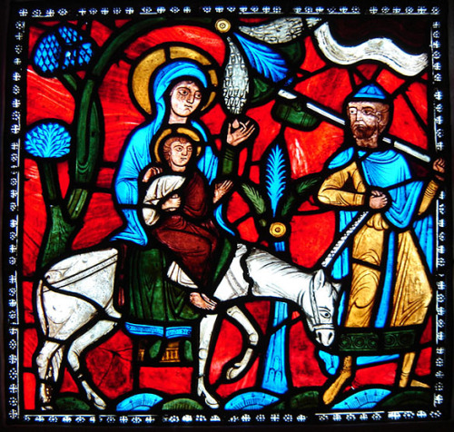 """Flight Into Egypt,"" ca. 1145. Originally from St. Denis, France. Currently at the Glencairn Museum in Bryn Athyn, Pennsylvania. Photo via Vitreosity."