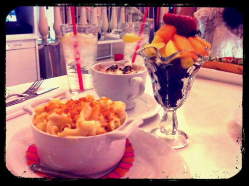 Serendipity Las Vegas. Mac & Cheese, Fresh fruit, and Smores Hot Chocolate.