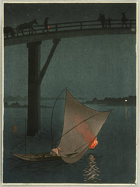 Fishing Boat - Night Scene Seriesby Yoshimune Arai 1873-1945