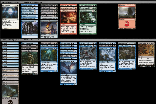 "Innistrad Draft (4-3-2-2), 13/11/2011 This is basically why I don't like drafting blue/black decks in Innistrad. Everything needs everything else, you have way too much top end and not enough one or two drops (but you can't really justifiably cut your five-drop flyers otherwise you have nothing to win with), and it is very hard to make cuts. I ended up having to cut a removal spell here, and I feel like the deck also wanted a second Crab, but I couldn't fit it in. I did get to play Army of the Damned (mainly because I wanted to cast it at least once in this format), and picked up two other mythics to help with my set redemption, though.  My first game was with an equally slow red/white deck. Game one it didn't seem to register when I clicked ""yes"" for whether I wanted to play first, so I clicked it again, and it mulliganned what was a perfectly fine hand. Then I drew into a one-land hand, and had to mulligan again. Despite that, I drew pretty well, while he got kind of flooded, and killed him with Army of the Damned. Game two I had a very good start with Deranged Assistant, but he neutralised all the threats I ramped into and I milled ALL of my flyers with Deranged Assistant and Armored Skaabs. My game plan was then to get to eight mana to cast Army of the Damned to finish him off, but before I could he cast TWO Rolling Temblor to wipe the board, meaning I couldn't even cast it and then flash it back to kill him. I drew a million removal spells while he played some Village Bellringers. I attacked for a few every turn with Armored Skaabs and Fortress Crabs, but it wasn't fast enough to kill him before I decked myself. Game three I again found none of my flyers (which should have been enough to kill him) and instead drew my ground zombies, which couldn't block his best dude due to his Blazing Torch. I eventually drew enough for Army of the Damned, forgetting that he had (one of his three) Scourge of Geier Reach out. All the zombies gave it a million power, he used the Blazing Torch and some other spell to get rid of my blockers, and then swung for the win. Pretty frustrating, because my deck should have been very well set up against him. All of his dudes were big dumb ground guys that my high toughness creatures should have been able to hold off, and then my flyers should have been able to kill him without fuss, but unfortunately I never got to cast any of them in three games."