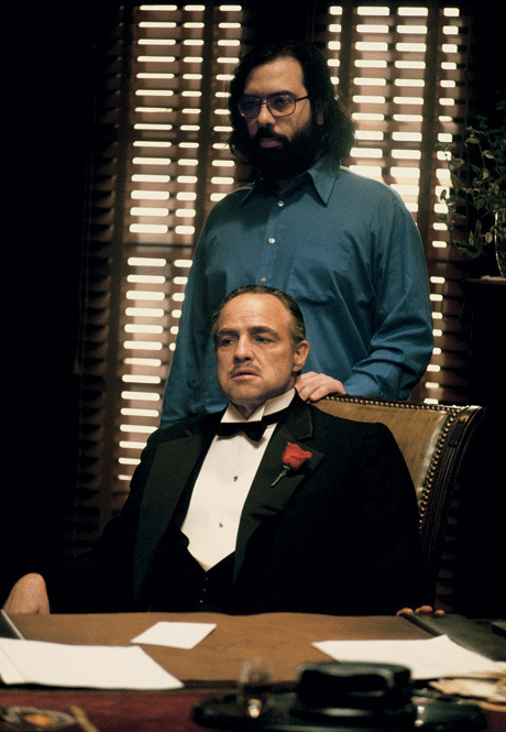 Francis Ford Coppola and Marlon Brando on the set of 'The Godfather'