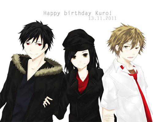 Happy birthday to my futago, Kuro! LOLOL. I am so late aksldjfklasdf. Here is Iza, Kuro and Ryuunosuke.