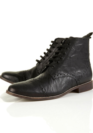 "50% Off! Now £30 Black' ' Paris' ' Leather Boots by Topman"" paris"" black leather lace boot 100 leather.More…"