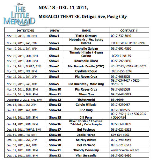 THE LITTLE MERMAID SHOW SCHEDULE!! For more information: Follow @MermaidinManila in Twitter http://www.atlantisproductionsinc.com/ https://www.ticketworld.com.ph/Online/searchResults.asp