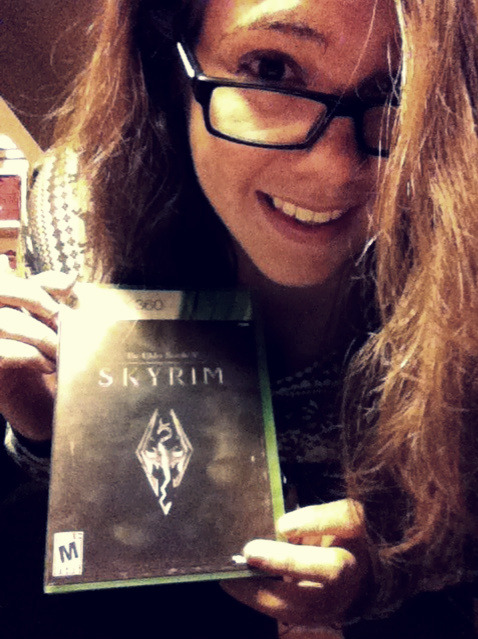 Guess who went to the Midnight Release for Skyrim, and has forfeited their social life! IN THE NAME OF THE NINE DIVINES, WITH THE STRENGTH OF AKATOSH AND TALOS, MAY WE BEAT ALLOFTHE SIDE QUESTS, AND KILL ALLOFTHE MUDCRABS