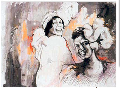 Billie Holiday and Bessie Smith painting by Ronnie Wood (Rolling Stones )  Owned by President Clinton and displayed on view in his office in NYC