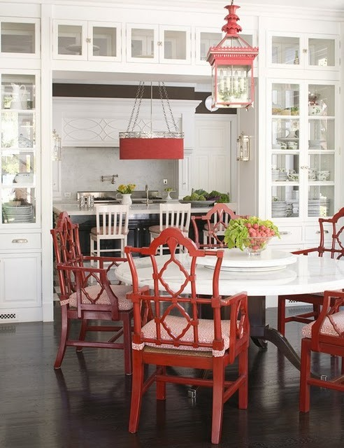 interiorstyledesign:  A classic white kitchen gets an Asian touch with lacquered red Oriental design chairs and a hanging lantern (via Chinoiserie Chic: Red and Chinoiserie)