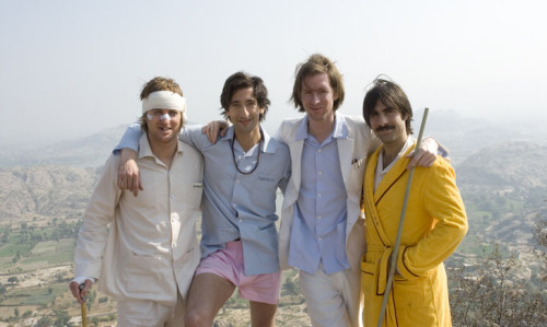 fuckyeahdirectors:   Owen Wilson, Adrien Brody, Wes Anderson and Jason Schwartzman on set of The Darjeeling Limited