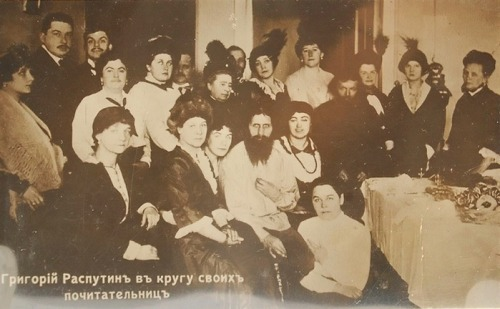 """Monastic elder"" Rasputin with his venerators, St.-Petersburg, the beginning of the 20-th century."
