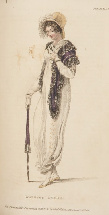 Ackermann's Repository, Walking Dress, October 1809.  I love her matching shawl and umbrella!