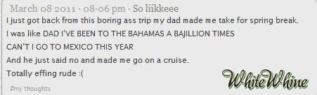 "whitewhine:  ""He just said no and made me go on a cruise"""