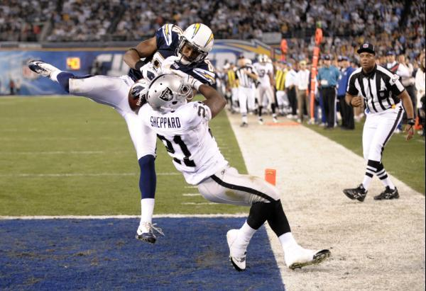 San Diego Chargers wide receiver Vincent Brown (86) appears to catch a third-quarter pass in the end zone against Oakland Raiders' Lito Sheppard (21) in an NFL football game Thursday, Nov. 10, 2011, in San Diego. After review, the play was ruled an incomplete pass. (AP Photo/Denis Poroy)
