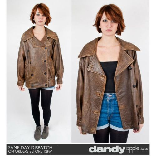 Newly listed @ www.dandyapple.co.uk Link: http://bit.ly/uM5xY1 Womens Vintage Retro Mary Quant Dark Brown Collared Real Leather Jacket. *   Dark brown in colour, with a brown nylon lining inside. *   Double breasted design, fastening with round dark brown buttons. *   Two open pockets on the hips.. *   Sam is a size 8, 5ft 6 inches tall. Size: 12-14 Material: Leather Condition: Some creasing and marks to the leather from previous wear, but overall good used vintage condition. More items like this are available here: http://bit.ly/szLgZW