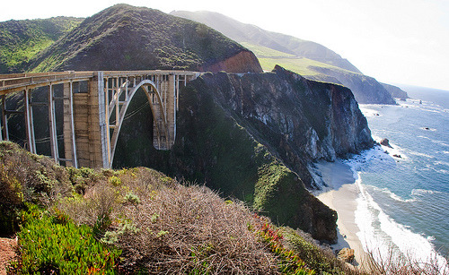 theworldwelivein:  Bixby Bridge (by (KatieMadeline))  i don't know why i'm so infatuated with this bridge. just this october, i was hoping you and i could drive down here with the dog, but now i think ill take this trip solo