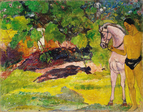 In the Vanilla Grove, Man and Horse by Paul Gauguin, 1891