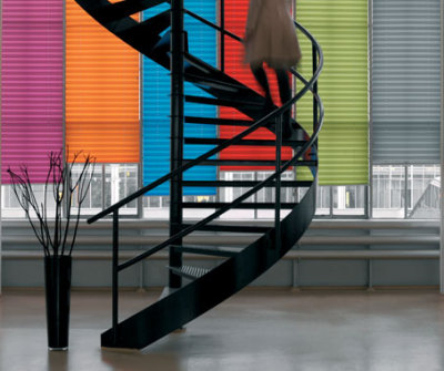 The XL50 Pleat range by Peter Meyer Blinds. Great light and texture.