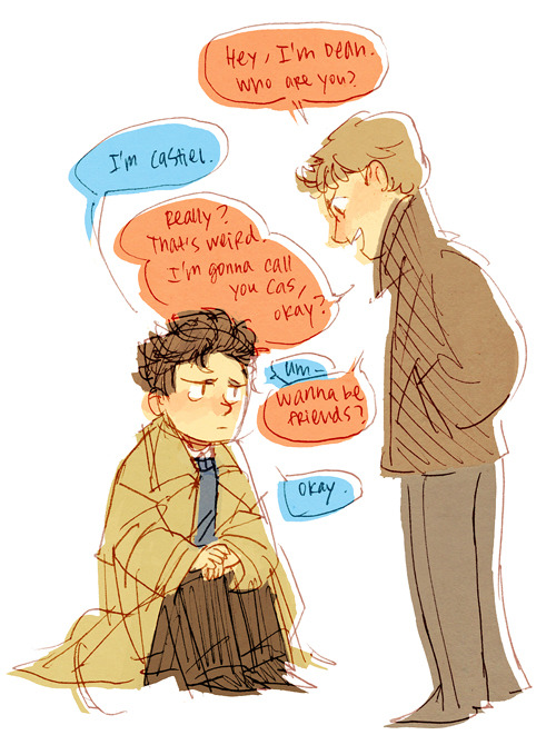 AUs of spn where cas is just a human are so funny because who names their kid CASTIEL