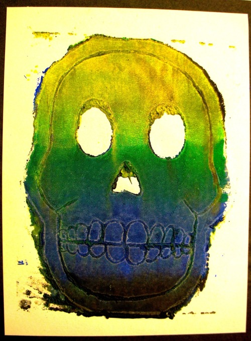 nyairejaneiro:  Skull lino print 3. Manipulated colour contrast in photoshop.