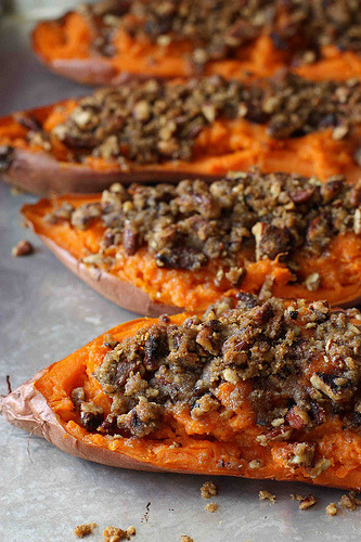 Twice Baked Sweet Potatoes with Chipotle Spiced Pecan Streusel