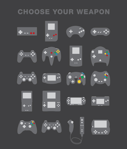 insanelygaming:  Gamepad - Choose Your Weapon - via funstoo What do you prefer?
