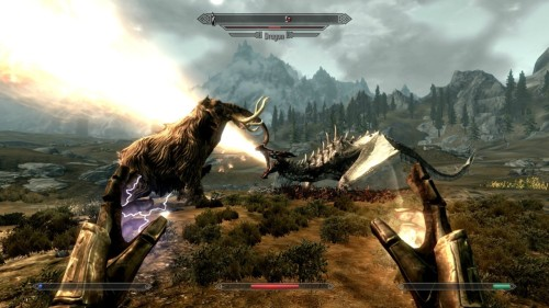 This is a mammoth fighting a dragon. This is also why I need to get Skyrim.