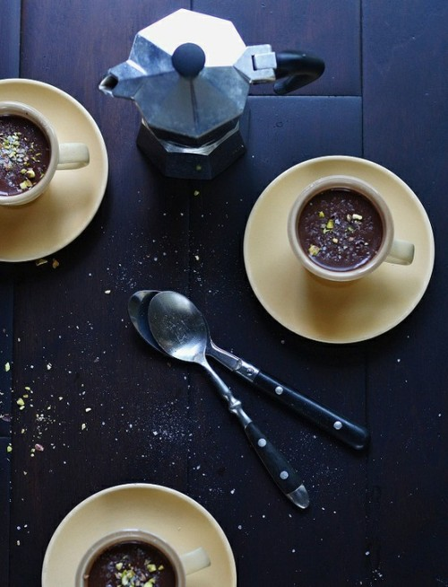 tillylove:  Chocolate & Bourbon Pudding with Sea Salt & Crushed Pistachio