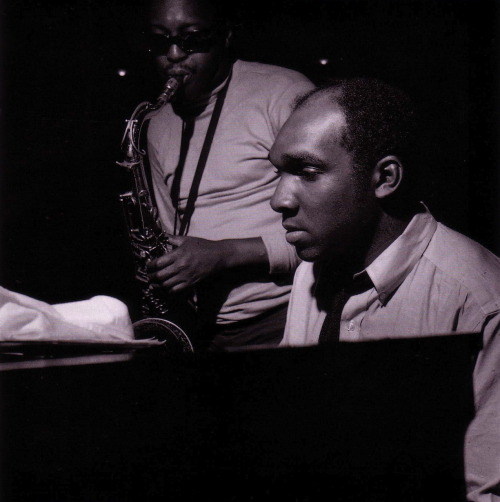 Hank Mobley and Harold Mabern during Mobley's Dippin' session, Englewood Cliffs NJ, June 18 1965 (photo by Francis Wolff)