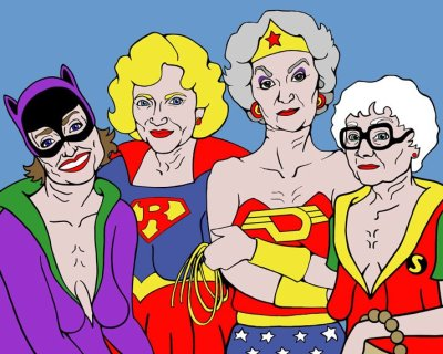 Arrrrgh. How do I buy this amazing superhero-fied drawing of the Golden Girls, or at least credit it's creator? Damn tumblr! (Unless I am reflagging the original artist, in which case, you are a god among men.)
