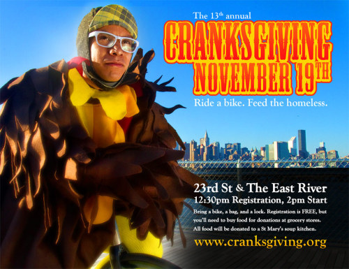 cycleangelo:  EVENT: CRANKSGIVING NYC 2011What other race is there during the year raises money and donates food to those in need? Cranksgiving is this coming Saturday here in NYC, and for those who don't have plans .. ride a bike, feed the homeless! More info here.