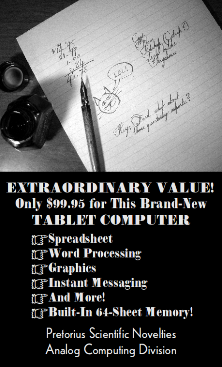 Tablet Computer Advertisement from Dr. Boli's Celebrated Magazine.