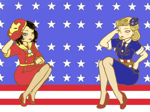1940's fashion inspired by Iron Man & Captain America, by LadyLawga Both of these looks are really cute, but I love how Iron Man's arc reactor is translated into a chic scarf clip.