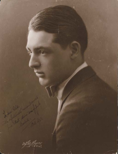 cary-a-holic:  A rare, early sepia portrait of Cary Grant signed under his real name.