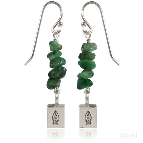 Emerald Chip and Silver Fish Earrings.