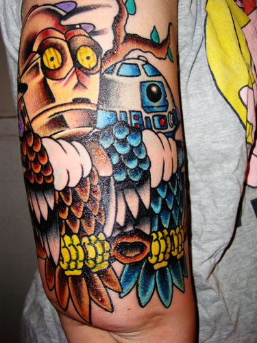 fuckyeahtattoos:  Americana C-3PO & R2 owls. By Tyler at Lady Luck Tattoo Gallery in Tempe, AZ / American Vintage Tattoo in Orange, California! Done yesterday. See super swollen upper arm. Makes me feel like a FFVII character.