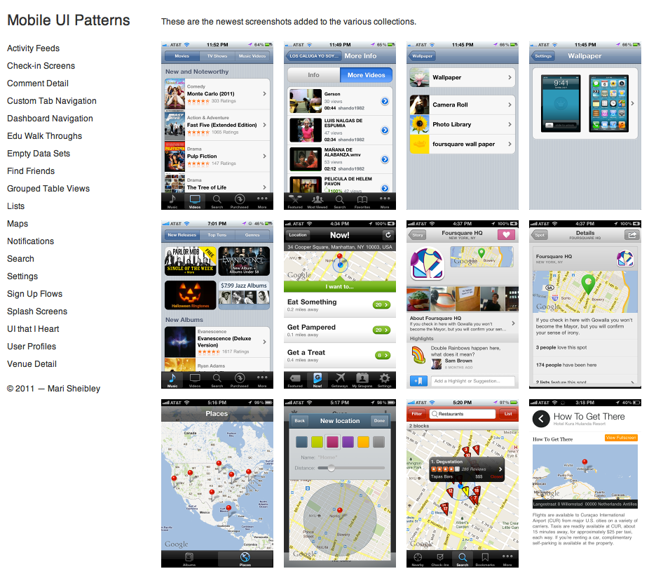 Mobile UI Patterns — a growing site of mobile UI pattern screenshots. Sadly only iOS/iPhone.