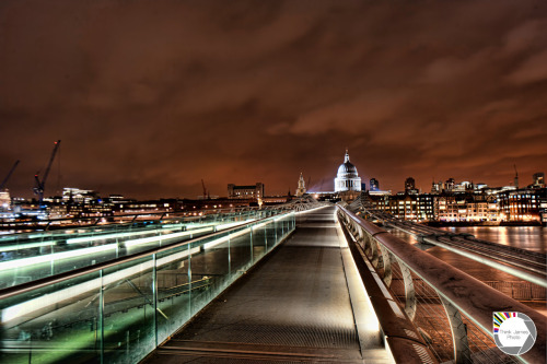 lushlondon:  Lights upon St Pauls   Recently the sky in London has always been red. In the past I have seen a multiple of colours including purple and once a green tone. I don't know if its the Autumn season that has done this but I haven't seen any other colour in a while. The lights on St Paul's were brighter for some reason on this night so you can see them lighting up the dome in the distance.