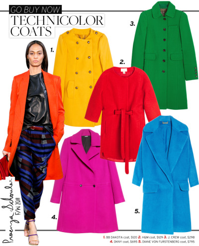Colored Coats BB Dakota Melton Coat H&M Wool Coat J. Crew Double-Cloth Metro Coat  DKNY Wool Coat Diane von Furstenberg Bernice Cocoon Wool-Blend Coat