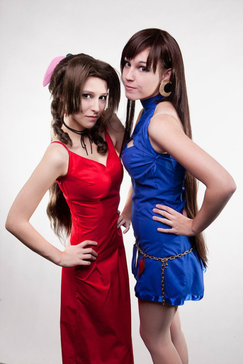 Aerith Gainsborough (left) and Tifa Lockhart (right) from Final Fantasy VIICosplayers: Priestess-Shizuka (Aerith Gainsborough) and inochi0 (Tifa Lockhart)Photographer: Amnet