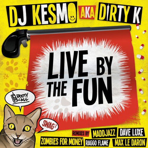 "DJ Kesmo - Live By The Fun [BCR007] Label : Booty Call Records Catalogue Number : BCR 0006 Format : Digital Release Date: May 30th, 2011 Title: LIVE BY THE FUN Artists : DJ KESMO / MADDJAZZ / ZOMBIES FOR MONEY / MAX LE DARON / RAGGO FLAME / DAVE LUXE TRACKLISTING : 01 - Pills Popper 02 - Look At My 03 - Faces & Fesses 04 - The Shake Parade 05 - Laisse Les  06 - Deep Set  07 - Faces & Fesses (Maddjazz Remix) 08 - Look At My (Zombies For Money Remix)   09 - Laisse Les (Max Le Daron Remix) 10 - Pills Popper (Dave Luxe Remix) 11 - The Shake Parade (Raggo Flame Remix)  Gifted producer and DJ, parisian nights agitator, globe trotter and world champion of air-skate, it's with the hip-hop that Kesmo aka Dirty K polished up its technique, constantly  investigating new tones. From 1997 he learns turntablism and released  around twenty mixtapes with Offishall Deejays. Mainly hip-hop, those will gradually includes more dancefloor, electro  and crunk sounds.He remains motivated as ever and determined to burn the sound barrier.   Today member of Booty Call, the French-Belgian tornado brings out his first EP (""Live By The Fun"", at Booty Call Records) after traveling from Brazil to India, passing by many European capitals.   Pure entertainment, 11 tracks of his electro / booty project includes five originals, and six remixes …The acid-step house from the Lusitanian duet Zombies For Money, the booty house with the Dutch influences of Maddjazz (member of the Ghetto Division from Chicago), the rave-step of the Brussels-based Dave Luxe, the clammy moombathon of his fellow countryman Max Le Daron and the dirty south bass music of the southern Raggo Flame (aka Raziek and Mago). .. Which are so many facets of the knight of lol, in a crusade in your club to fight boreness.  Artwork: Larry Print BUY: iTunes / JunoDownload / Beatport STREAM: Deezer / Soundcloud"