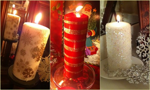 #DIY Three #Embellished Candle #Tutorials…great #gift #ideas for the #budget conscious! truebluemeandyou:  DIY Three Embellished Candle Tutorials: Tissue Paper, Glitter Candles with Double Stick Tape and Ice Encrusted Candles. You can get the candles so cheaply at the Dollar Store or Michaels. Tutorials at the Ivy Cottage Blog here.